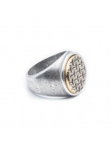 Opposite Ring Grid Silver-Gold